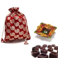 Brocade silk Chocolate pouch_DCHO12