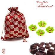 Aapno Rajasthan Brocade silk Chocolate pouch