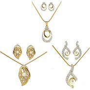 Dg Jewels 24k Gold and Silver Plated Bollywood Collection of Beautiful 3 Pendant Set - DGPSCombo005