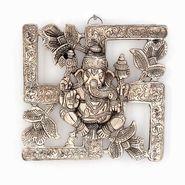 Little India Antique White Metal Swastik Ganesha Hanging 313