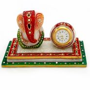 Little India Meenakari Ganesha Marble Chowki n Table Watch Set 376
