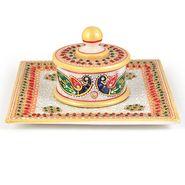 Little India Gold Meenakari Work Marble Jewellary Box n Tray 391