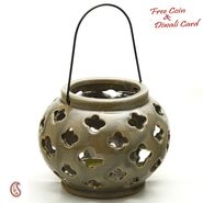 Aapno Rajasthan Taupe Ceramic Tea light Lantern Shade with Floral Cut