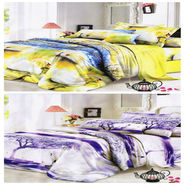 Set of 2 Dekor World 3D Multi Printed BedSheet With 4 Pillow Covers-DWBSCB-018