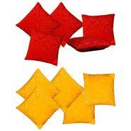 Dekor World Red Yellow Velvet Touch Combo. Cushion Cover (Pack of 10)-DWCB-215-12
