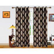 DEKOR WORLD  BROWN BEIGE BAROQUE  EYELET Window Curtain 2 SET-DWCT-292-5
