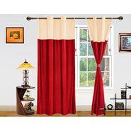 Dekor World Beige Maroon Eyelet Window Curtain-Set of 2 -DWCT-412-5