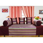 Dekor World Multi Stripe Diwan Set-Pack of 6 Pcs-DWDS-0101