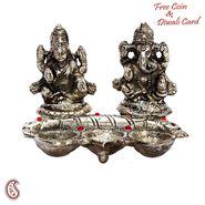 Metal Finish Laxmi Ganesh with 3 Diyas in front