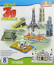 Delhi Haat 8 in 1 Educational 3D Monuments Puzzle Kit
