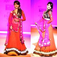 Ethnic Trend Embroidery Georgette Unstitched Lehnga Choli and Net Dupatta - Orange & fuchsia Pink