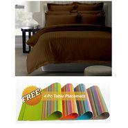 Storyathome Brown Satin Stripes King Size 1 Bedsheet + 2 Pillow Cover -FE2053_TT