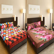 Set of 2 3D Double Bedsheet With 4 Pillow Covers