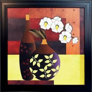eCraftIndia Abstract Pot and Flower Theme Satin Matt Texture Framed UV Art Print-FPSJ606