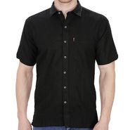 Fizzaro Plain Linen Casual Shirt For Men_Fzls104 - Black