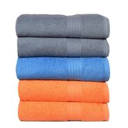 GRJ INDIA Blue Gray Peach Cotton Bath Towel (set Of 5)-GRJ-5BTWL-8
