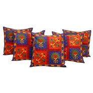 GRJ India Traditional Kantha Work  Animal Print Cushion Cover Set-5 pcs-GRJ-CC-5P-29