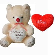 Valentine Combo of 1 Feet Teddy & Soft Toy Heart - Beige