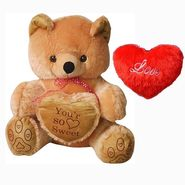 Valentine Combo of 48 Inches Teddy & Soft Toy Heart - Brown