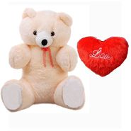 Valentine Combo of 60 Inches Teddy & Soft Toy Heart - Cream