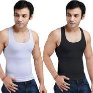 Get In Shape Set of 2 Instant Slimming Vest for Men - Black & White