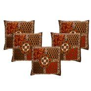 eCraftIndia Floral Design Set of 5 Cotton Cushion Covers-HF5CC173_L