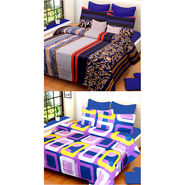 Set of 2 IWS Cotton Printed Double Bedsheet with 4 Pillow Covers-CB1284