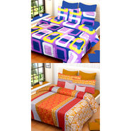 Set of 2 IWS Cotton Printed Double Bedsheet with 4 Pillow Covers-CB1334