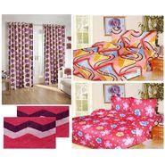 10 Piece Home Decor Combo (IWS 2 Bedsheet with 4 Pillow Covers + 2 Door Curtains + 2 Mats) IWS-JC-17