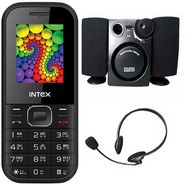 Combo of Intex A-one+ Feature Phone + Intex 880S OS 2.1 Channel MM speaker + Intex Standard Headphone