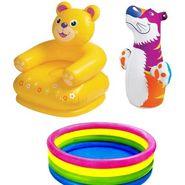 Kids 3 Ft. Swimming Pool + Teddy Chair + Punching Bog Bag