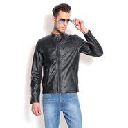 Davie Jones Full Sleeves Faux Leather Jacket For Men _JKT05 -  Black