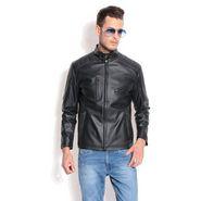 Davie Jones Full Sleeves Faux Leather Jacket For Men _JKT07 -  Black