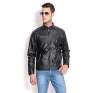 Davie Jones Full Sleeves Faux Leather Jacket For Men _JKT15 -  Black
