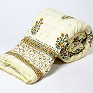 Little India Jaipuri Designer Printed Print Cotton Single Bed AC Quilt - White