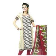 Javuli Printed Cotton Dress Material - White & Red