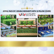 Joyful Pack of 5 Double Bedsheets with 10 Pillow Covers (5BS12)