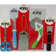 KVG Kitchen Utility Combo-No 1, Set Of 5, Coconut Scraper, Pizza Cutter, Scissor, Peeler, Cheese Grater