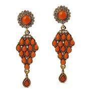 Kriaa Antique Pearl Gold Finish Earrings  - Orange _ 1304904