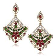 Kriaa Antique Gold Finish Kundan Earrings - Pink & Green _ 1305506