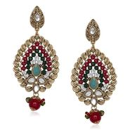 Kriaa Antique Gold Kundan Earrings - Multicolour _ 1305533