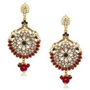 Kriaa Antique Gold Finish Earrings - Red & Green _ 1305536