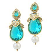 Kriaa Austrian Stone Pearl Gold Finish Dangle Earrings - Blue _ 1305816