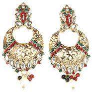Kriaa Kundan Earrings - Red & Green _ 1300222