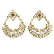 Kriaa Kundan Chand Bali Earrings - Brown _ 1300611