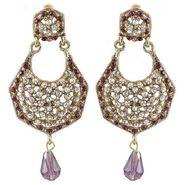 Kriaa Austrian Stone Drop Earrings - Purple _ 1300907