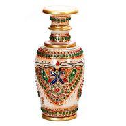 Handpainted Beautiful Peacock Motif Marble Vase-MAR15350