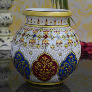 eCraftIndia Marble Floral Pot with Sublime Golden Strokes - MultiColor