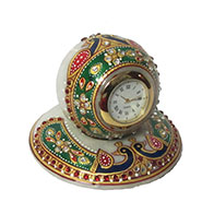 eCraftIndia Colorful stone studded Marble Table Clock with Peacock - Multicolor