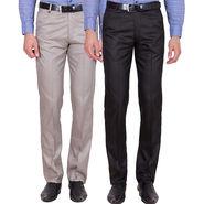 Tiger Grid Pack of 2 Cotton Formal Trouser For Men_Md009